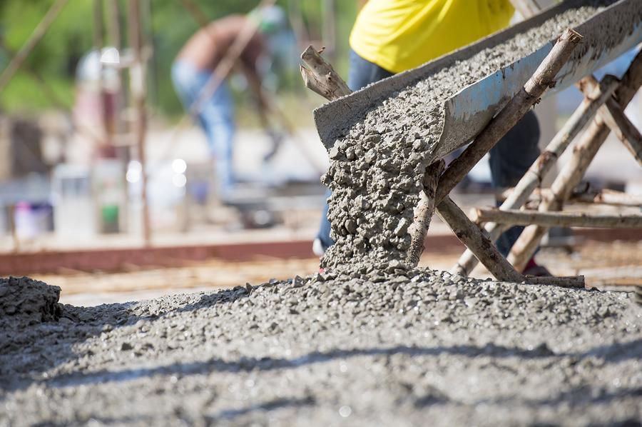 pouring the concrete cement