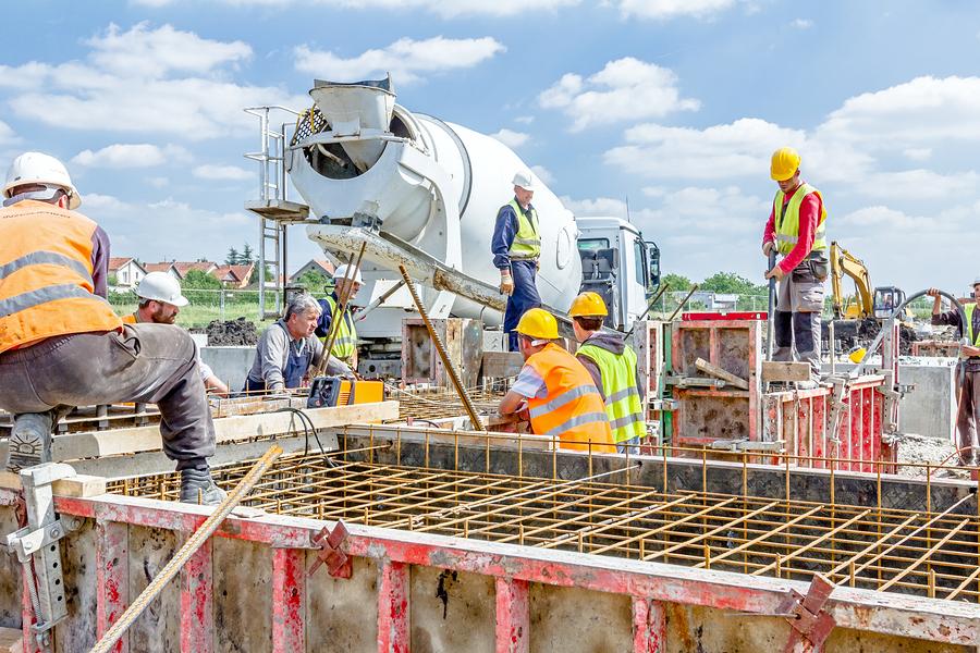 men is working on site