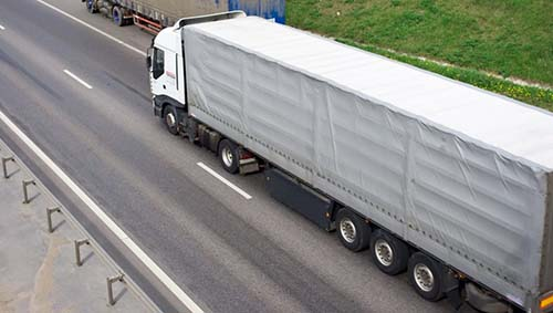 truck is on the road